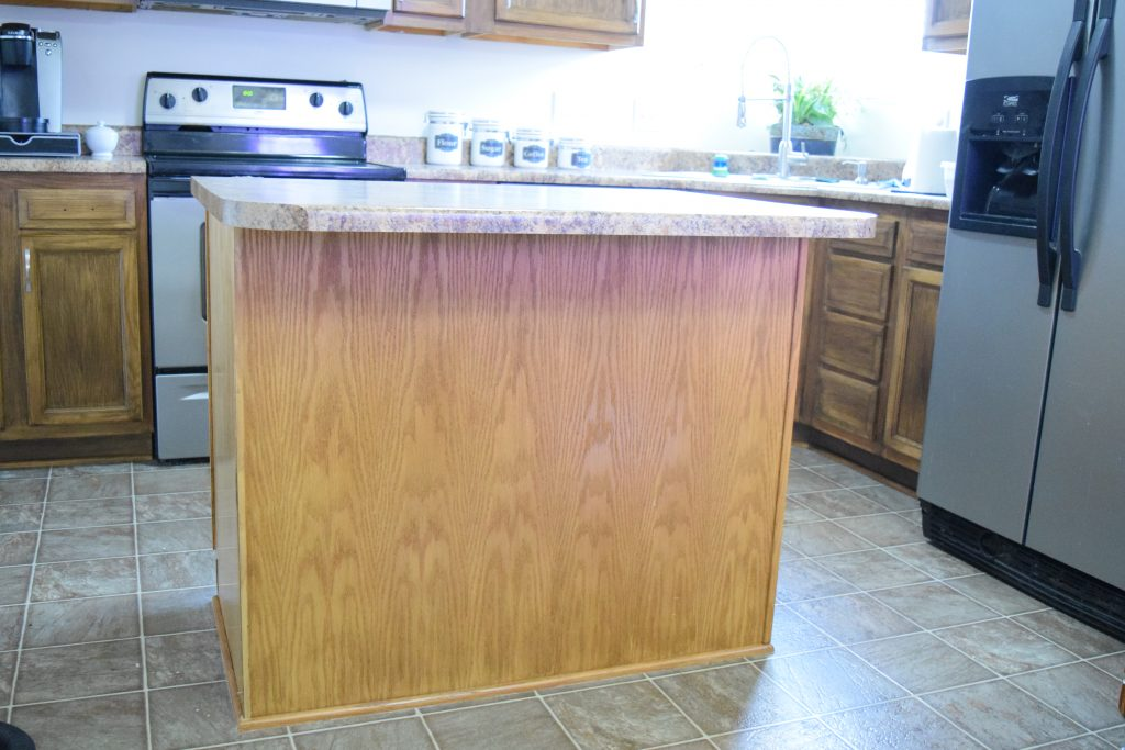 Builder Grade Kitchen Island - How To Add Moulding