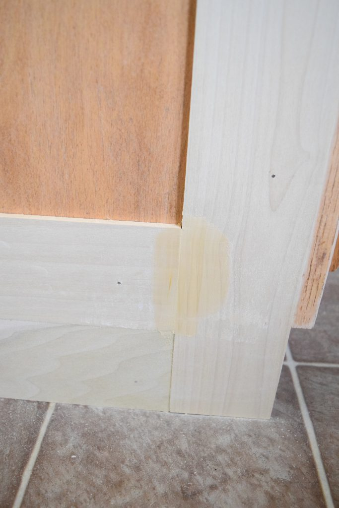 Fill the seams when adding molding to a kitchen island