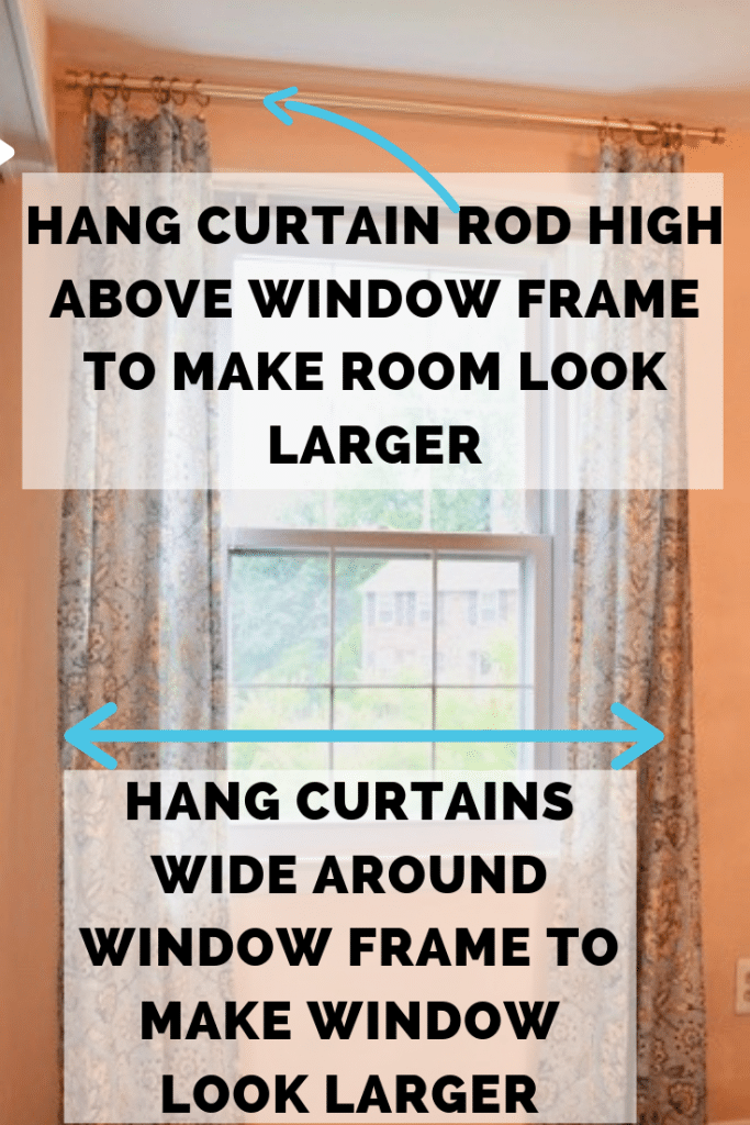 Curtains That Are Hung High And Wide Make The Room and Window Look Larger