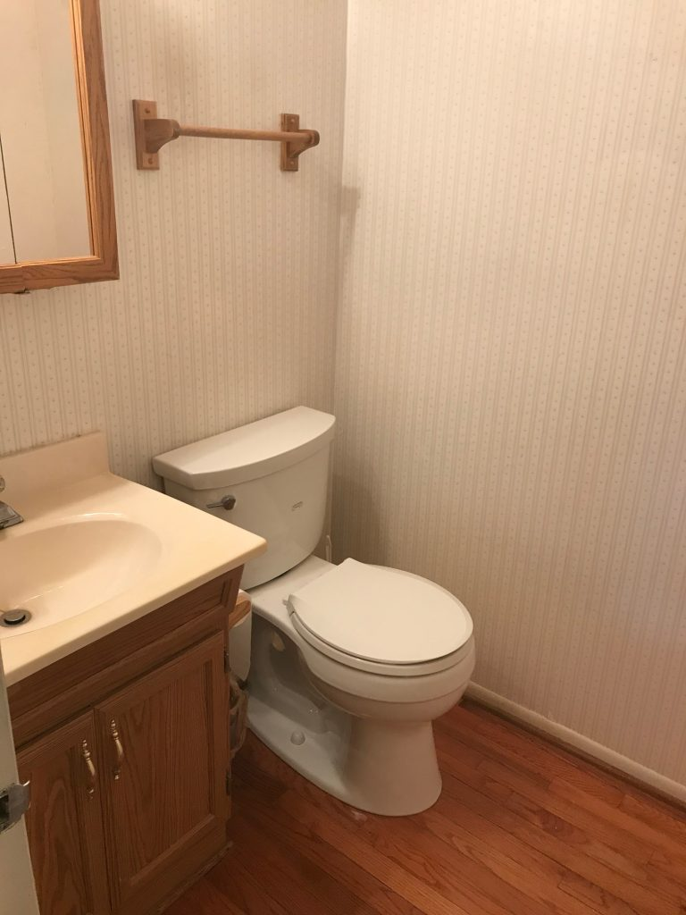 Removing Wallpaper from the Powder Room
