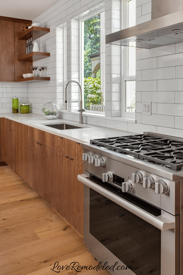 Subway Tile for Wood Cabinets