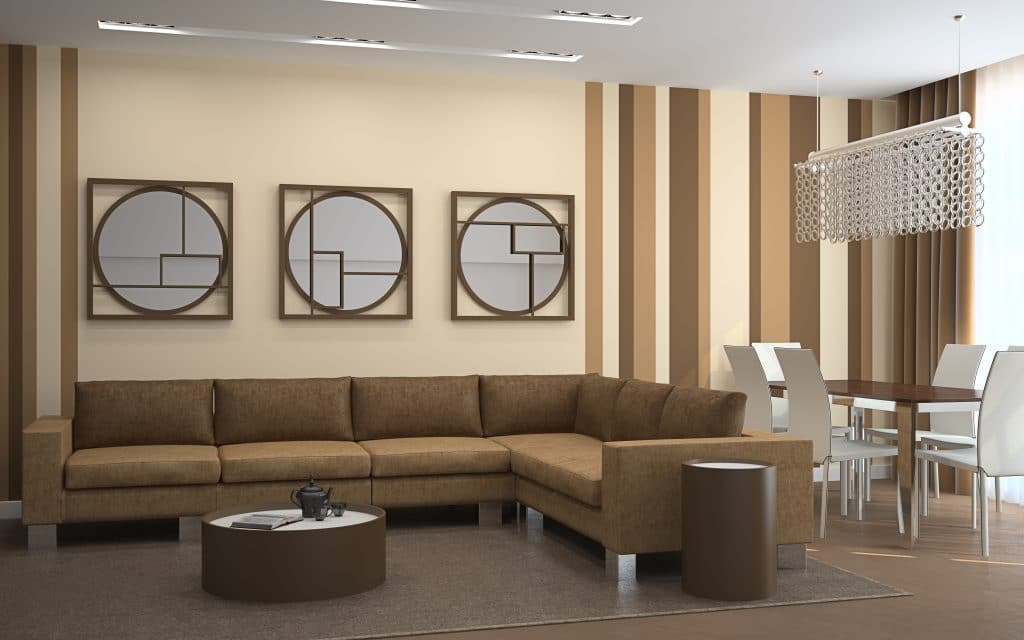 Modern Room with Beige Paint Color