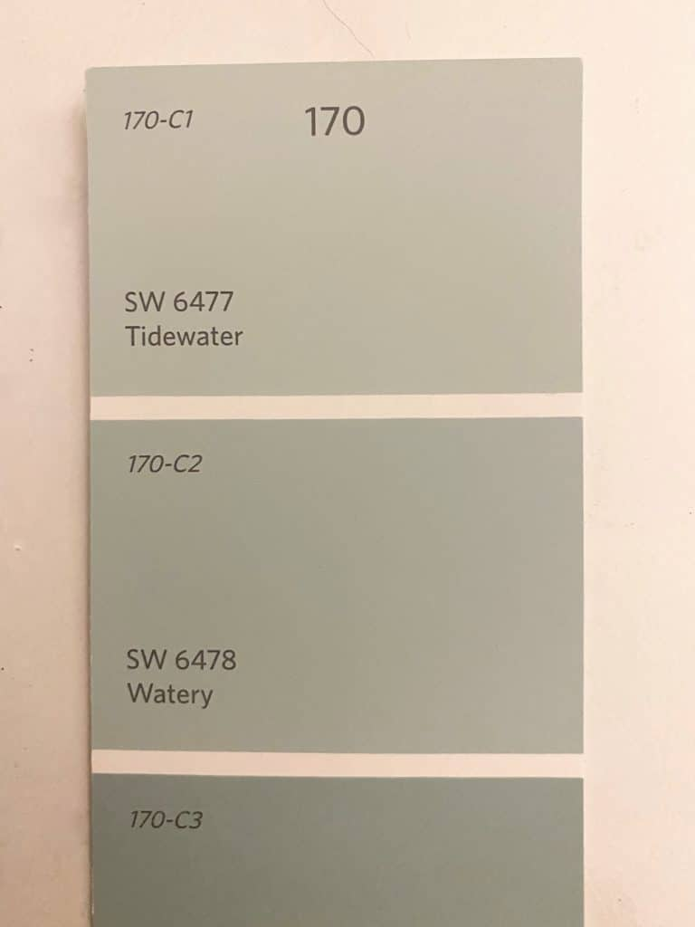 Comparison of Tidewater and Watery by Sherwin Williams; Swatch