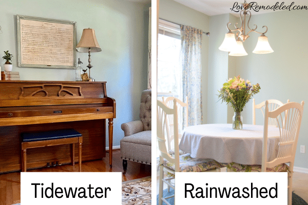 Comparison of Tidewater and Rainwashed by Sherwin Williams