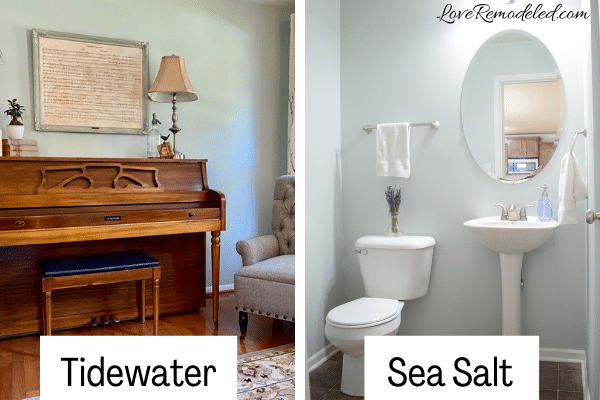 Comparison of Tidewater and Sea Salt by Sherwin Williams