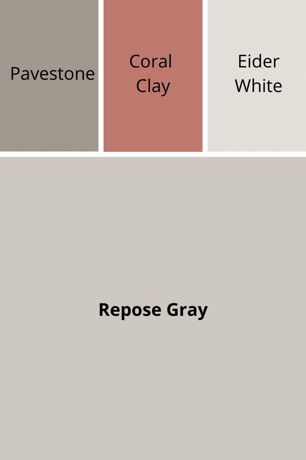 Accent Colors for Repose Gray - Pavestone, Coral Clay, Eider White