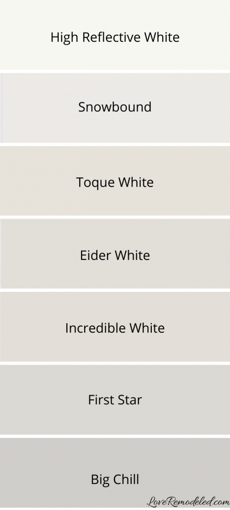 Paint Color Strip with High Reflective White, Snowbound, Toque White, Eider White, Incredible White, First Star and Big Chill