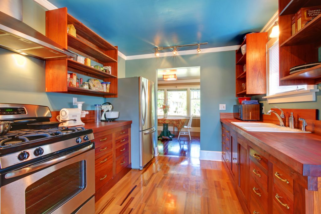Blue Kitchen Walls with Blue Ceiling