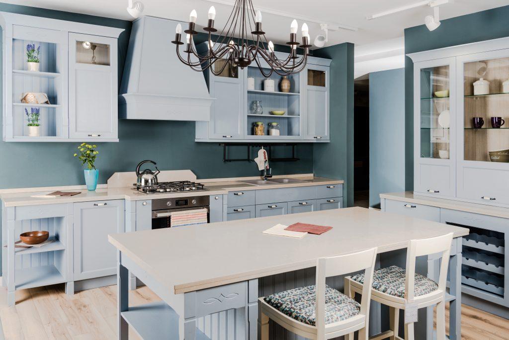 deep blue kitchen walls