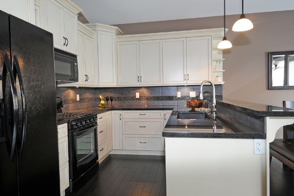 taupe colored kitchen walls