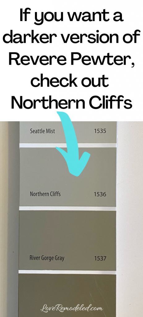 If you want a darker version of Revere Pewter, check out Northern Cliffs.