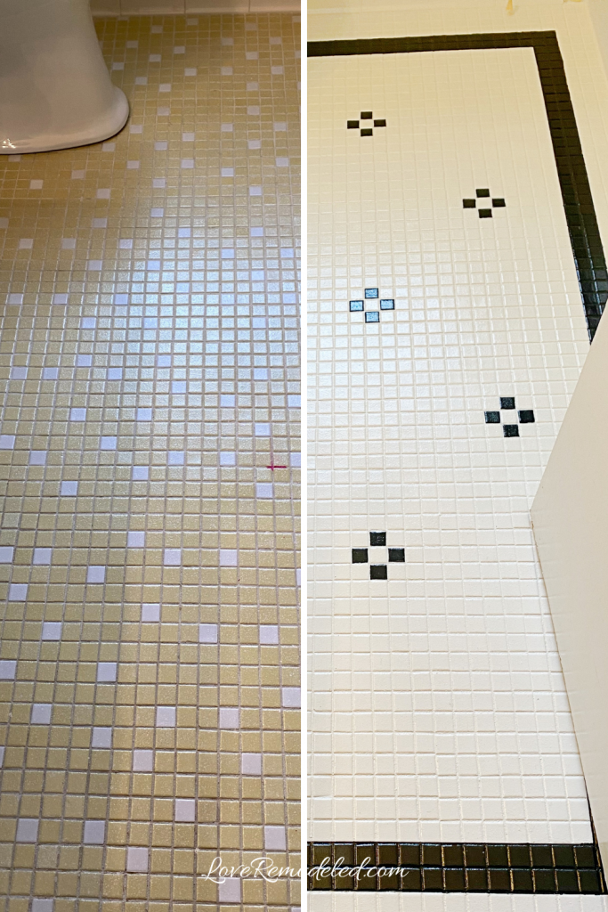 Painted Tile Floor - Before and After