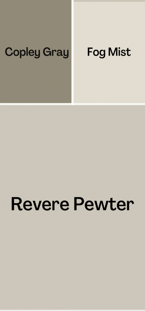 Revere Pewter Complimentary Color Scheme, with Copley Gray and Fog Mist