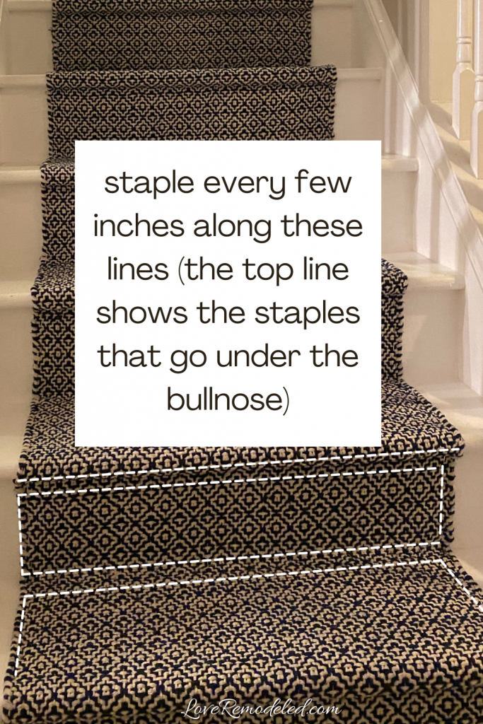 Installing a stair runner - staple here
