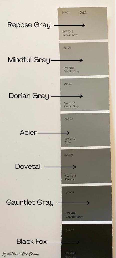 Mindful Gray Paint Color Strip