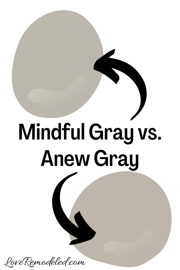 Sherwin Williams Mindful Gray vs. Anew Gray