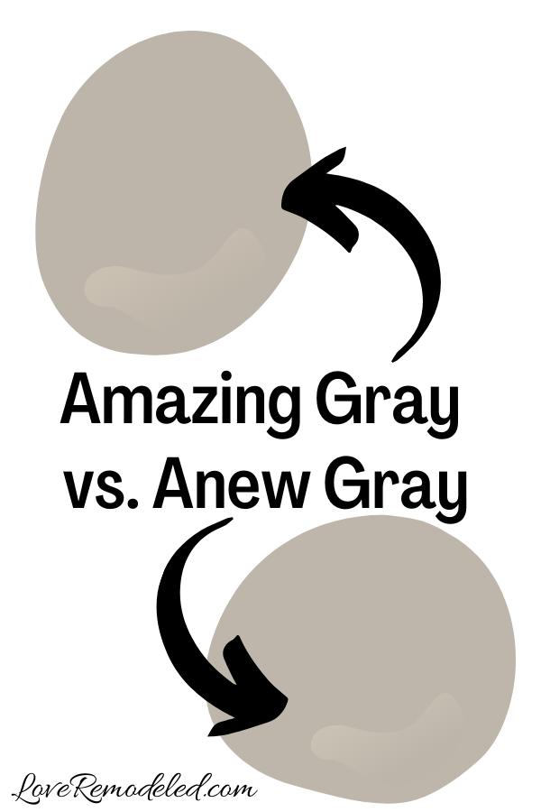 Sherwin Williams Amazing Gray vs. Anew Gray