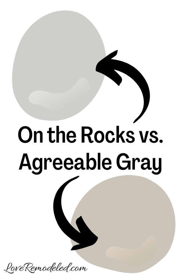 Sherwin Williams On the Rocks vs. Agreeable Gray