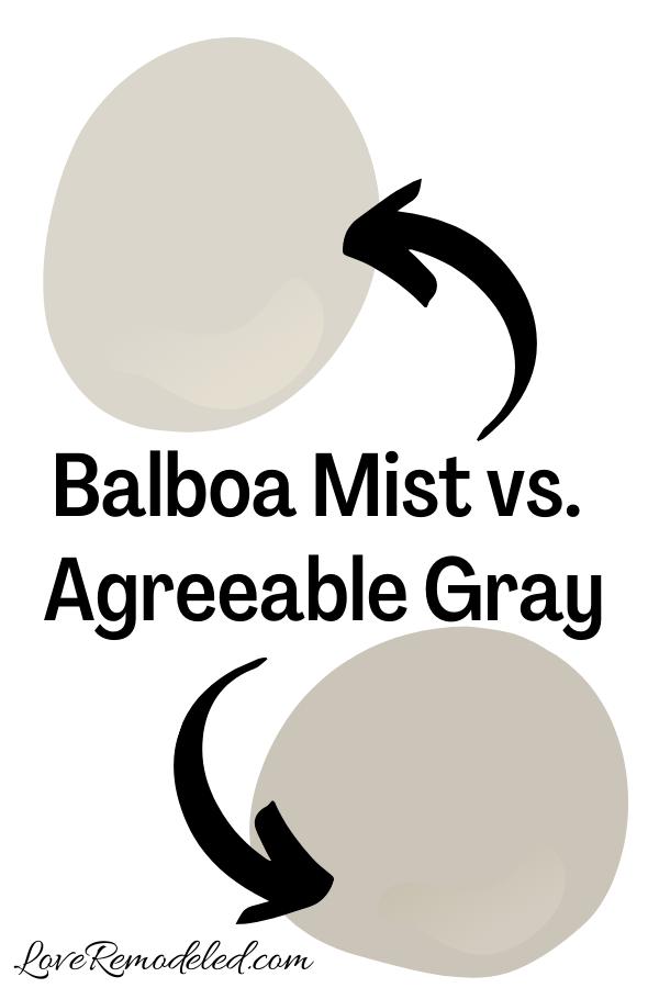 Benjamin Moore Balboa Mist vs. Agreeable Gray
