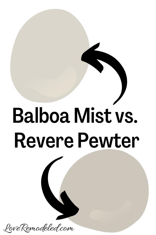 Benjamin Moore Balboa Mist vs. Revere Pewter