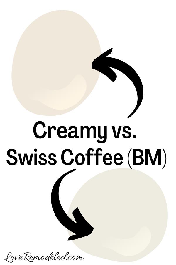 Sherwin Williams Creamy vs. Benjamin Moore Swiss Coffee
