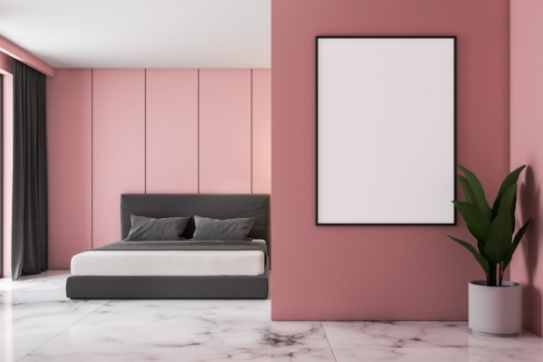 blush pink painted bedroom